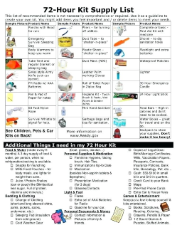 Disaster Checklist and Supplies for emergencies